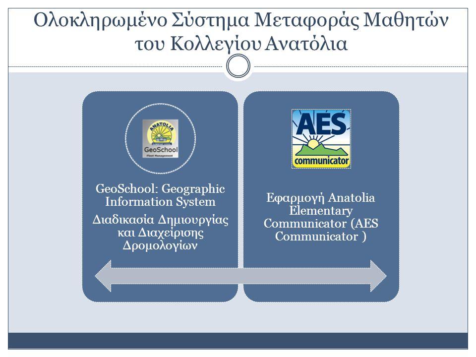 Ολοκληρωμένο Σύστημα Μεταφοράς Μαθητών του Κολλεγίου Ανατόλια GeoSchool: Geographic Information System Διαδικασία Δημιουργίας και Διαχείρισης Δρομολογίων Εφαρμογή Anatolia Elementary Communicator (AES Communicator )