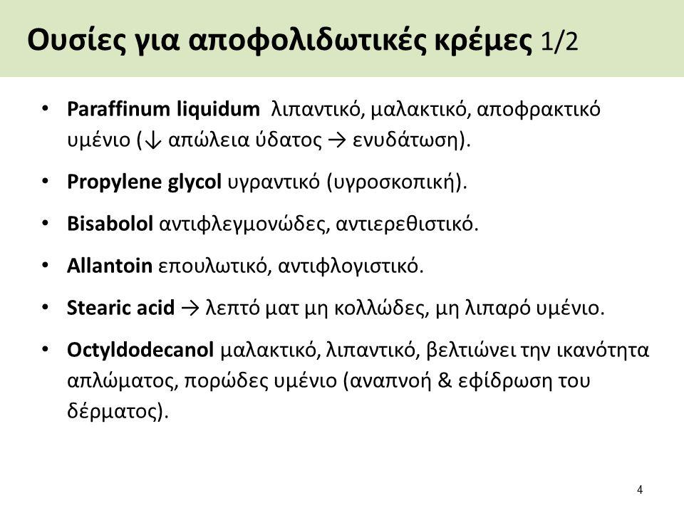 Ουσίες για αποφολιδωτικές κρέμες 1/2 Paraffinum liquidum λιπαντικό, μαλακτικό, αποφρακτικό υμένιο (↓ απώλεια ύδατος → ενυδάτωση).