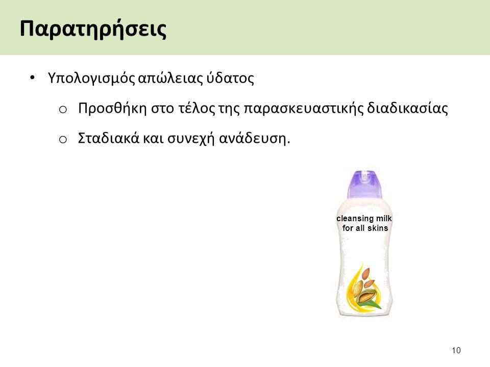 cleansing milk for all skins Παρατηρήσεις Υπολογισμός απώλειας ύδατος o Προσθήκη στο τέλος της παρασκευαστικής διαδικασίας o Σταδιακά και συνεχή ανάδε