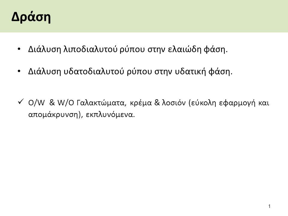 Δράση Διάλυση λιποδιαλυτού ρύπου στην ελαιώδη φάση. Διάλυση υδατοδιαλυτού ρύπου στην υδατική φάση. O/W & W/O Γαλακτώματα, κρέμα & λοσιόν (εύκολη εφαρμ