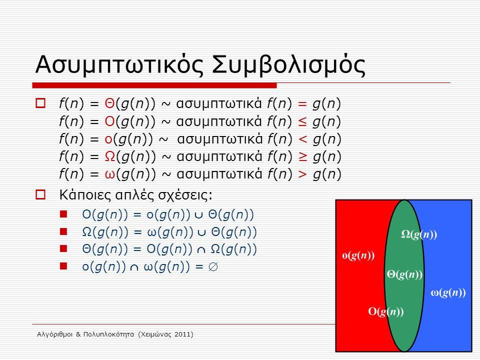 Αλγόριθμοι & Πολυπλοκότητα (Χειμώνας 2011) Ασυμπτωτικός Συμβολισμός  f(n) = Θ(g(n)) ~ ασυμπτωτικά f(n) = g(n) f(n) = O(g(n)) ~ ασυμπτωτικά f(n) ≤ g(n