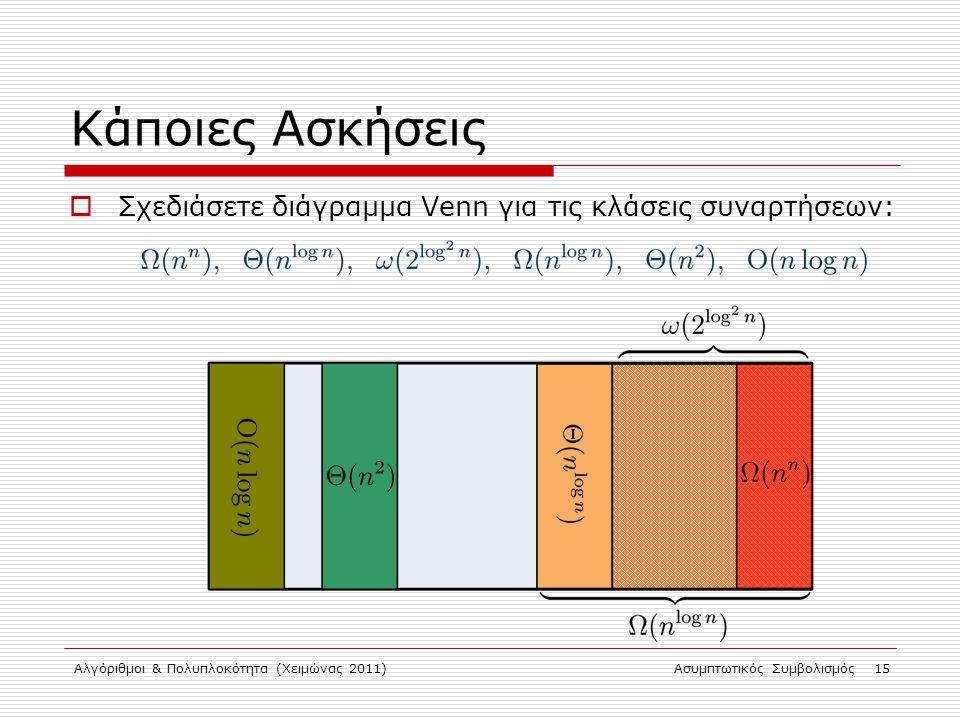 Αλγόριθμοι & Πολυπλοκότητα (Χειμώνας 2011)Ασυμπτωτικός Συμβολισμός 15 Κάποιες Ασκήσεις  Σχεδιάσετε διάγραμμα Venn για τις κλάσεις συναρτήσεων: