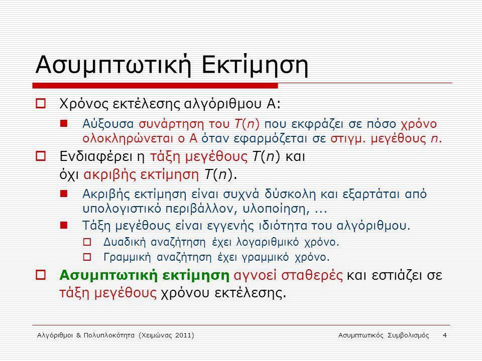 Αλγόριθμοι & Πολυπλοκότητα (Χειμώνας 2011)Ασυμπτωτικός Συμβολισμός 4 Ασυμπτωτική Εκτίμηση  Χρόνος εκτέλεσης αλγόριθμου Α: Αύξουσα συνάρτηση του Τ(n)