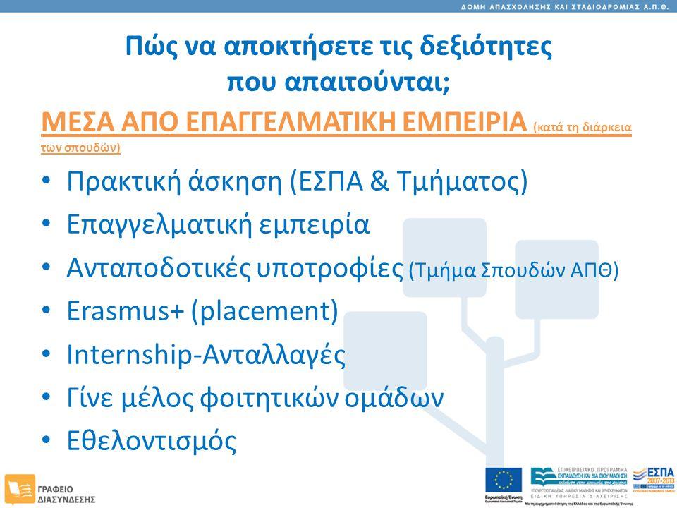 Πώς να αποκτήσετε τις δεξιότητες που απαιτούνται; ΜΕΣΑ ΑΠΟ ΕΠΑΓΓΕΛΜΑΤΙΚΗ ΕΜΠΕΙΡΙΑ (κατά τη διάρκεια των σπουδών) Πρακτική άσκηση (ΕΣΠΑ & Τμήματος) Επαγγελματική εμπειρία Ανταποδοτικές υποτροφίες (Τμήμα Σπουδών ΑΠΘ) Erasmus+ (placement) Internship-Ανταλλαγές Γίνε μέλος φοιτητικών ομάδων Εθελοντισμός