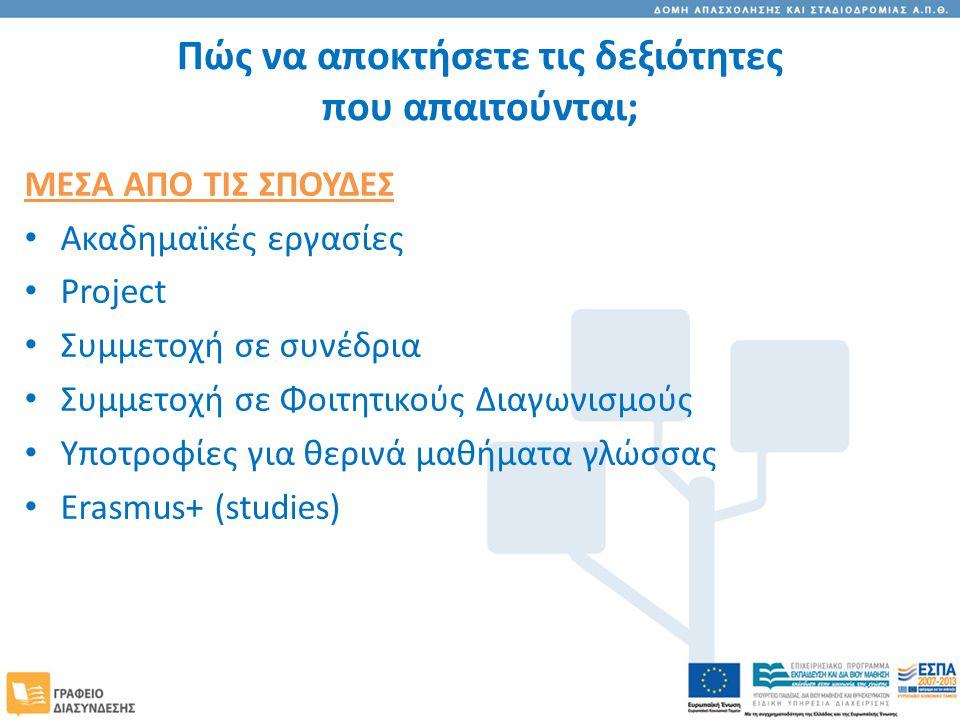 Πώς να αποκτήσετε τις δεξιότητες που απαιτούνται; ΜΕΣΑ ΑΠΟ ΤΙΣ ΣΠΟΥΔΕΣ Ακαδημαϊκές εργασίες Project Συμμετοχή σε συνέδρια Συμμετοχή σε Φοιτητικούς Διαγωνισμούς Υποτροφίες για θερινά μαθήματα γλώσσας Erasmus+ (studies)