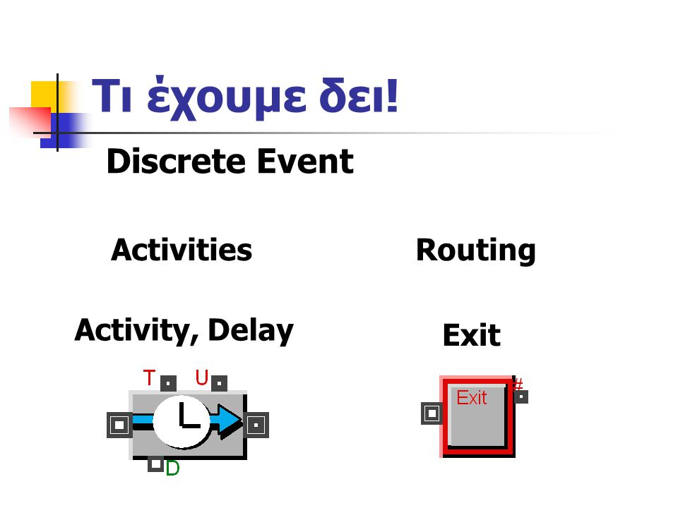 Τι έχουμε δει! Activity, Delay Discrete Event ActivitiesRouting Exit