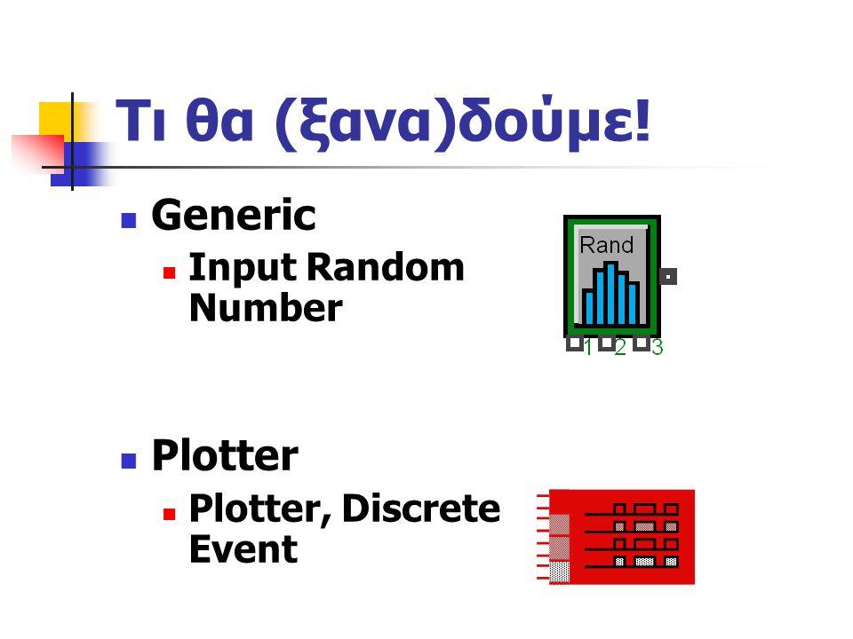 Τι θα (ξανα)δούμε! Generic Input Random Number Plotter Plotter, Discrete Event