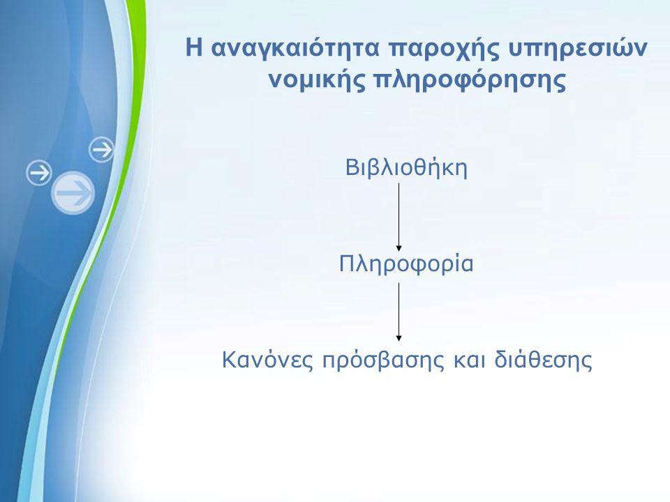 Powerpoint Templates Η αναγκαιότητα παροχής υπηρεσιών νομικής πληροφόρησης Βιβλιοθήκη Πληροφορία Κανόνες πρόσβασης και διάθεσης