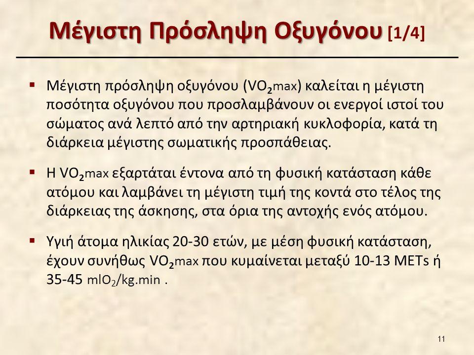 Μέγιστη Πρόσληψη Οξυγόνου Μέγιστη Πρόσληψη Οξυγόνου [1/4]  Μέγιστη πρόσληψη οξυγόνου (VO 2 max ) καλείται η μέγιστη ποσότητα οξυγόνου που προσλαμβάνουν οι ενεργοί ιστοί του σώματος ανά λεπτό από την αρτηριακή κυκλοφορία, κατά τη διάρκεια μέγιστης σωματικής προσπάθειας.
