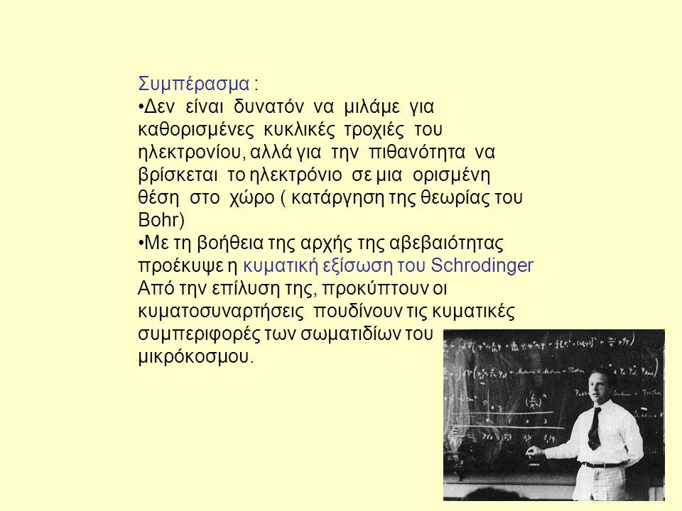 Συμπέρασμα : Δεν είναι δυνατόν να μιλάμε για καθορισμένες κυκλικές τροχιές του ηλεκτρονίου, αλλά για την πιθανότητα να βρίσκεται το ηλεκτρόνιο σε μια ορισμένη θέση στο χώρο ( κατάργηση της θεωρίας του Bohr) Με τη βοήθεια της αρχής της αβεβαιότητας προέκυψε η κυματική εξίσωση του Schrodinger Από την επίλυση της, προκύπτουν οι κυματοσυναρτήσεις πουδίνουν τις κυματικές συμπεριφορές των σωματιδίων του μικρόκοσμου.
