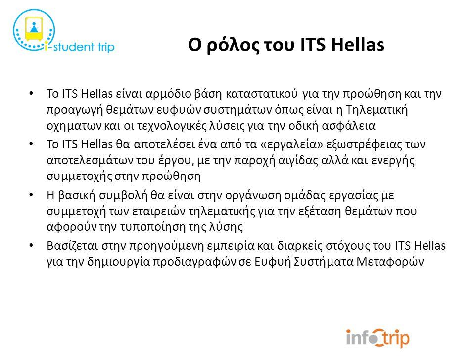 Ο ρόλος του ITS Hellas Το ITS Hellas είναι αρμόδιο βάση καταστατικού για την προώθηση και την προαγωγή θεμάτων ευφυών συστημάτων όπως είναι η Τηλεματι