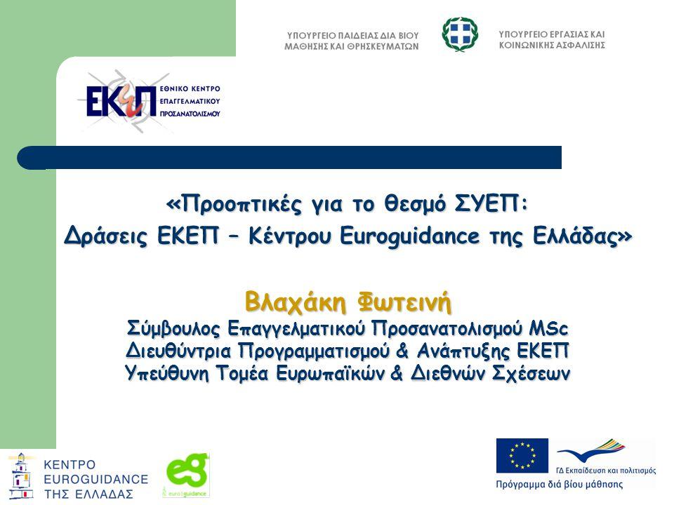 «Προοπτικές για το θεσμό ΣΥΕΠ: Δράσεις ΕΚΕΠ – Κέντρου Euroguidance της Ελλάδας» Βλαχάκη Φωτεινή Σύμβουλος Επαγγελματικού Προσανατολισμού MSc Διευθύντρια Προγραμματισμού & Ανάπτυξης ΕΚΕΠ Υπεύθυνη Τομέα Ευρωπαϊκών & Διεθνών Σχέσεων
