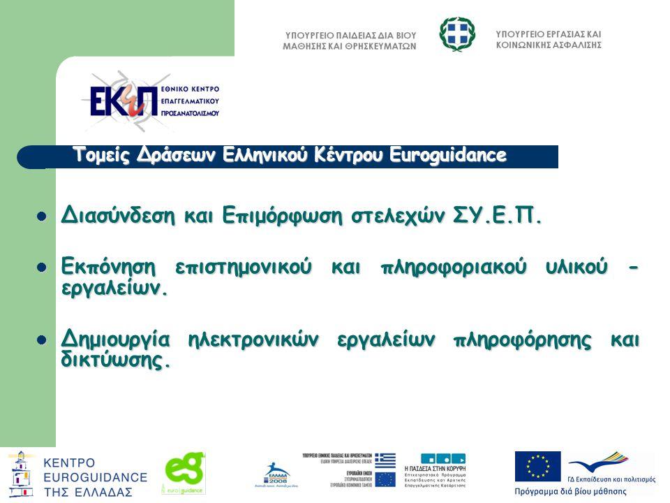 Τομείς Δράσεων Ελληνικού Κέντρου Euroguidance Διασύνδεση και Επιμόρφωση στελεχών ΣΥ.Ε.Π. Διασύνδεση και Επιμόρφωση στελεχών ΣΥ.Ε.Π. Εκπόνηση επιστημον