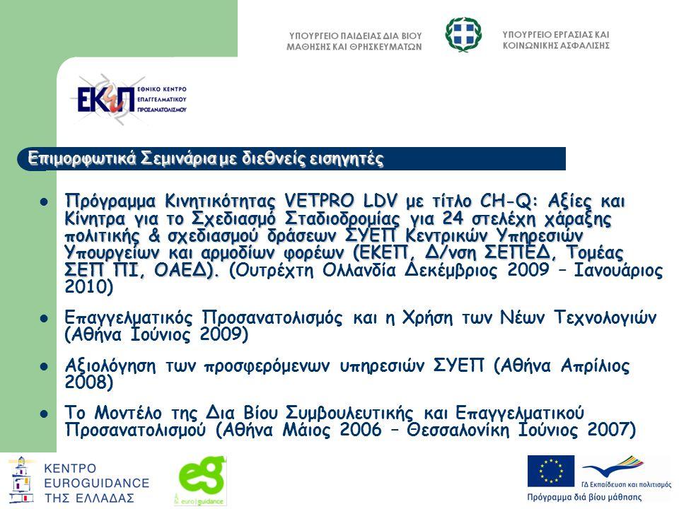 Πρόγραμμα Κινητικότητας VETPRO LDV με τίτλο CH-Q: Αξίες και Κίνητρα για το Σχεδιασμό Σταδιοδρομίας για 24 στελέχη χάραξης πολιτικής & σχεδιασμού δράσεων ΣΥΕΠ Κεντρικών Υπηρεσιών Υπουργείων και αρμοδίων φορέων (ΕΚΕΠ, Δ/νση ΣΕΠΕΔ, Τομέας ΣΕΠ ΠΙ, ΟΑΕΔ).
