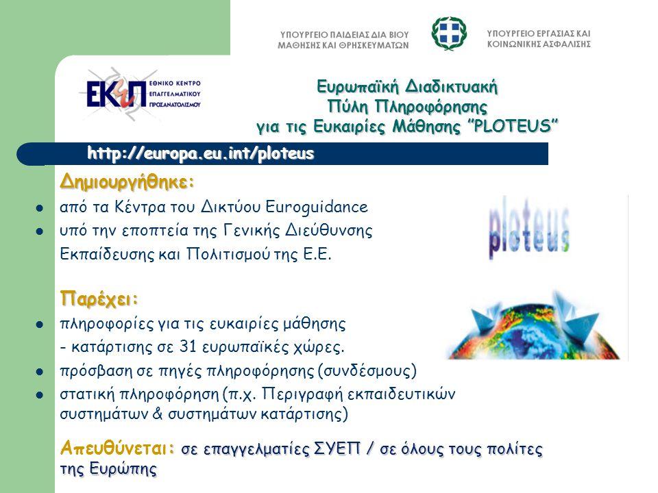 Δημιουργήθηκε: από τα Κέντρα του Δικτύου Εuroguidance υπό την εποπτεία της Γενικής Διεύθυνσης Εκπαίδευσης και Πολιτισμού της Ε.Ε. Παρέχει: πληροφορίες