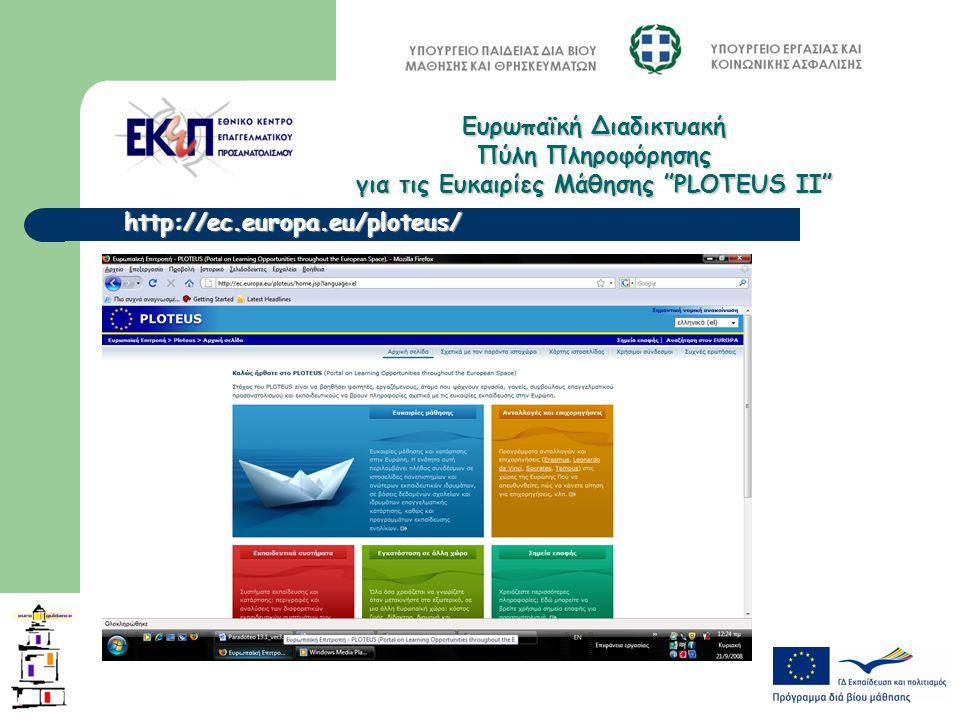 http://ec.europa.eu/ploteus/ Ευρωπαϊκή Διαδικτυακή Πύλη Πληροφόρησης για τις Ευκαιρίες Μάθησης PLOTEUS ΙΙ
