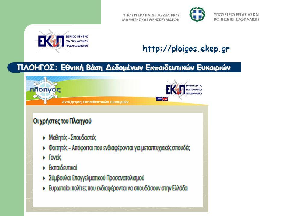 ΠΛΟΗΓΟΣ: Εθνική Βάση Δεδομένων Εκπαιδευτικών Ευκαιριών http://ploigos.ekep.gr