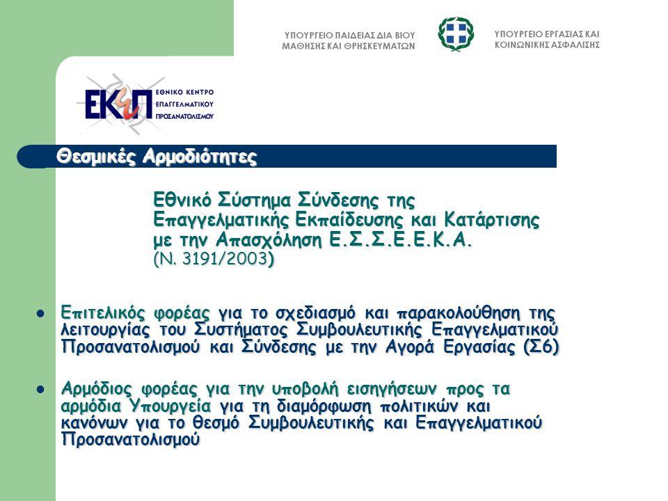 Εθνικό Σύστημα Σύνδεσης της Επαγγελματικής Εκπαίδευσης και Κατάρτισης με την Απασχόληση Ε.Σ.Σ.Ε.Ε.Κ.Α. (Ν. 3191/2003) Επιτελικός φορέας για το σχεδιασ