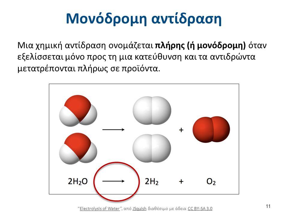 Μονόδρομη αντίδραση Μια χημική αντίδραση ονομάζεται πλήρης (ή μονόδρομη) όταν εξελίσσεται μόνο προς τη μια κατεύθυνση και τα αντιδρώντα μετατρέπονται πλήρως σε προϊόντα.