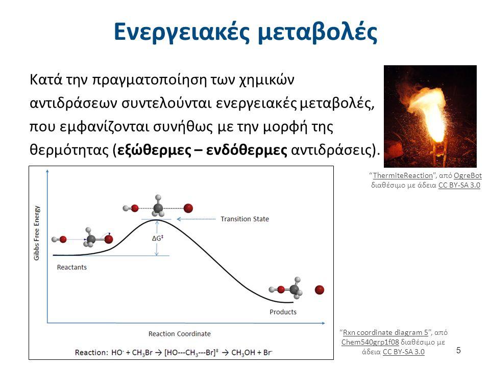 Ενεργειακές μεταβολές Κατά την πραγματοποίηση των χημικών αντιδράσεων συντελούνται ενεργειακές μεταβολές, που εμφανίζονται συνήθως με την μορφή της θερμότητας (εξώθερμες – ενδόθερμες αντιδράσεις).