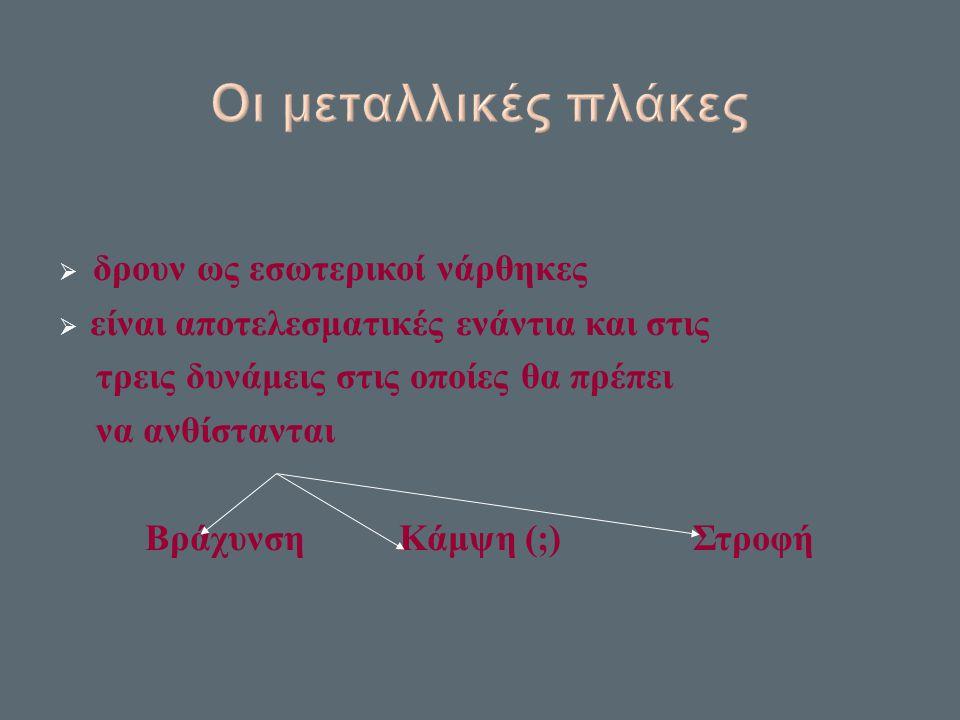  δρουν ως εσωτερικοί νάρθηκες  είναι αποτελεσματικές ενάντια και στις τρεις δυνάμεις στις οποίες θα πρέπει να ανθίστανται Βράχυνση Κάμψη ( ; ) Στροφή