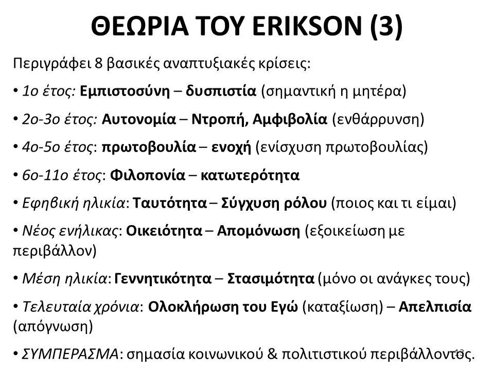 ΘΕΩΡΙΑ ΤΟΥ ERIKSON (3) Περιγράφει 8 βασικές αναπτυξιακές κρίσεις: 1ο έτος: Εμπιστοσύνη – δυσπιστία (σημαντική η μητέρα) 2ο-3ο έτος: Αυτονομία – Ντροπή
