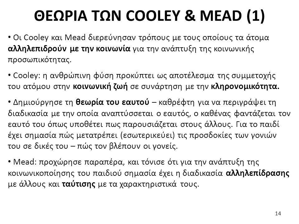 ΘΕΩΡΙΑ ΤΩΝ COOLEY & MEAD (1) Οι Cooley και Mead διερεύνησαν τρόπους με τους οποίους τα άτομα αλληλεπιδρούν με την κοινωνία για την ανάπτυξη της κοινων