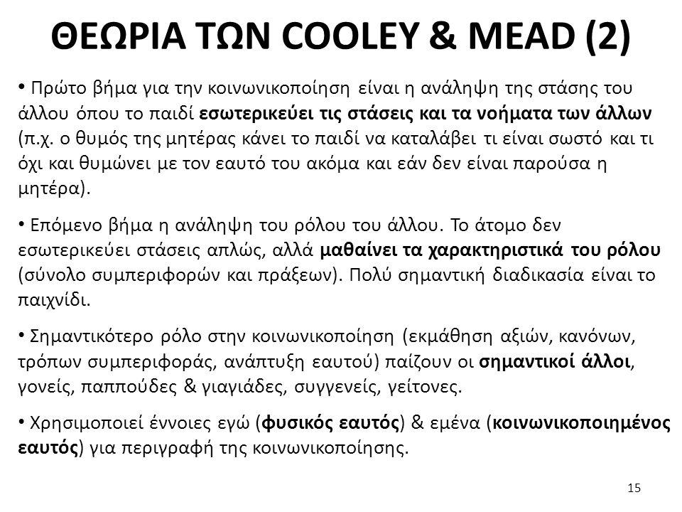ΘΕΩΡΙΑ ΤΩΝ COOLEY & MEAD (2) Πρώτο βήμα για την κοινωνικοποίηση είναι η ανάληψη της στάσης του άλλου όπου το παιδί εσωτερικεύει τις στάσεις και τα νοή