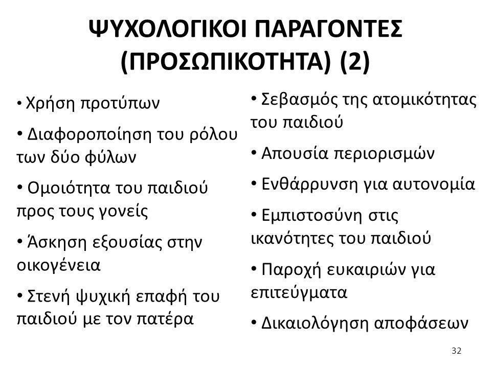 ΨΥΧΟΛΟΓΙΚΟΙ ΠΑΡΑΓΟΝΤΕΣ (ΠΡΟΣΩΠΙΚΟΤΗΤΑ) (2) Χρήση προτύπων Διαφοροποίηση του ρόλου των δύο φύλων Ομοιότητα του παιδιού προς τους γονείς Άσκηση εξουσίας