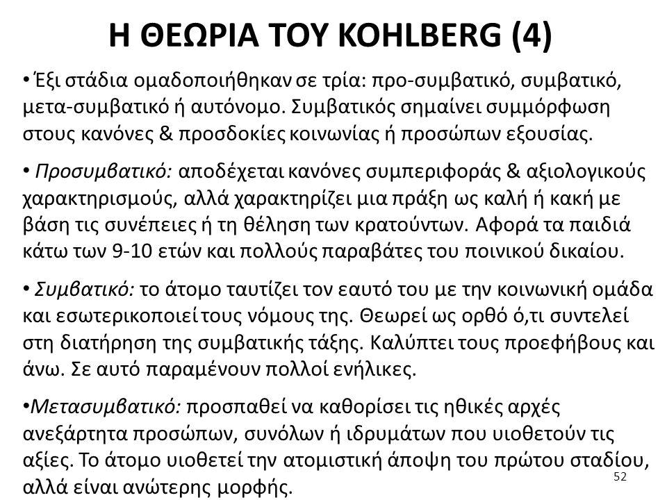 Η ΘΕΩΡΙΑ ΤΟΥ KOHLBERG (4) Έξι στάδια ομαδοποιήθηκαν σε τρία: προ-συμβατικό, συμβατικό, μετα-συμβατικό ή αυτόνομο. Συμβατικός σημαίνει συμμόρφωση στους