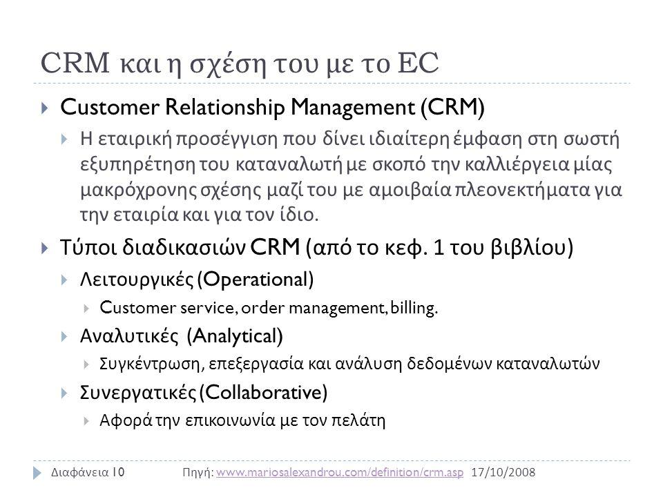 CRM και η σχέση του με το EC  Customer Relationship Management (CRM)  Η εταιρική προσέγγιση που δίνει ιδιαίτερη έμφαση στη σωστή εξυπηρέτηση του καταναλωτή με σκοπό την καλλιέργεια μίας μακρόχρονης σχέσης μαζί του με αμοιβαία πλεονεκτήματα για την εταιρία και για τον ίδιο.