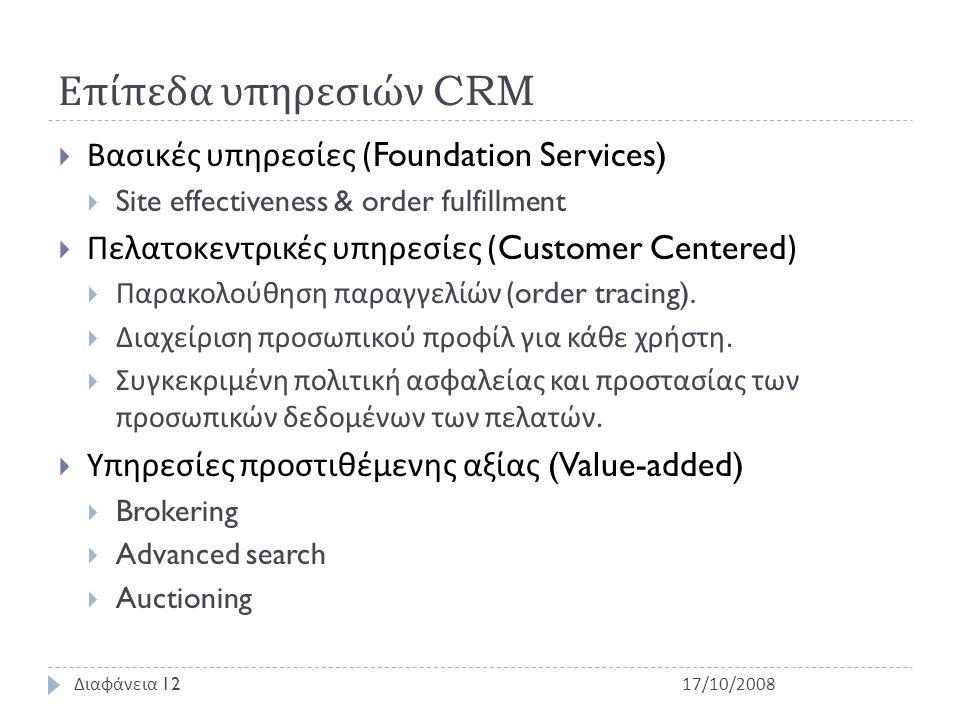 Επίπεδα υπηρεσιών CRM  Βασικές υπηρεσίες (Foundation Services)  Site effectiveness & order fulfillment  Πελατοκεντρικές υπηρεσίες (Customer Centered)  Παρακολούθηση παραγγελίών (order tracing).