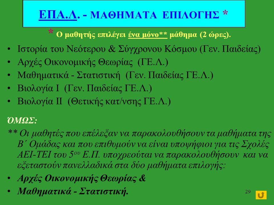 28 ΚΑΤΗΓΟΡΙΑΜΑΘΗΜΑ10 ΩΡΕΣ Α΄ ΟΜΑΔΑ* (για υποψήφιους μόνο ΤΕΙ) Νεοελληνική Γλώσσα (ΓΕ.Λ.) 2 Μαθηματικά Ι 5 Φυσική Ι 3 Β΄ ΟΜΑΔΑ * (για υποψήφιους ΑΕΙ κα