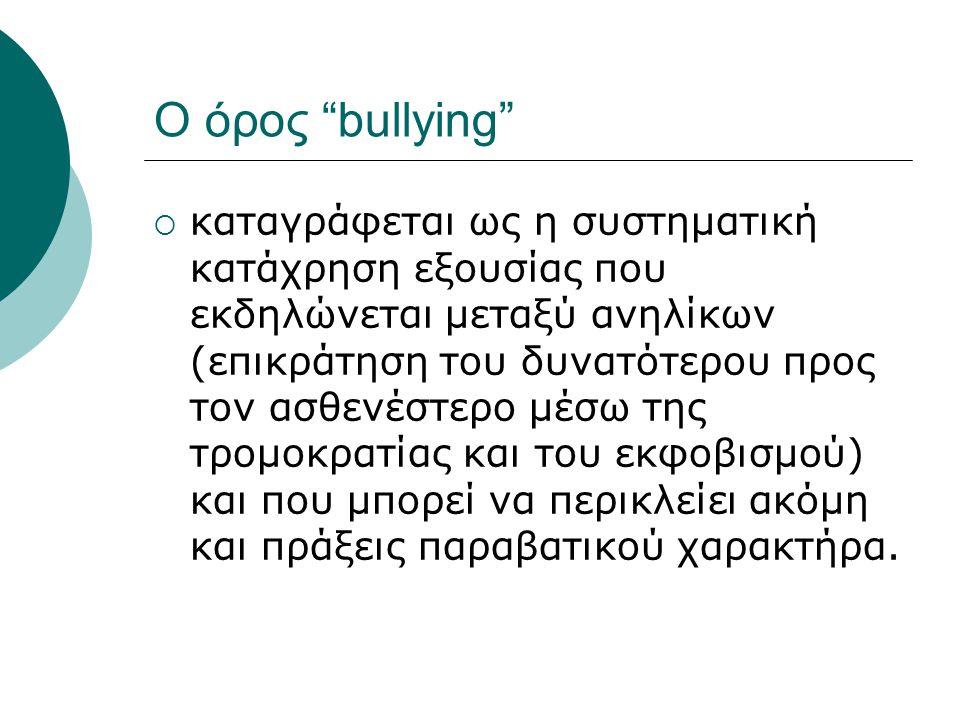 bullying  ο όρος αυτός χρησιμοποιείται για την περιγραφή αρκετών αρνητικών τύπων συμπεριφοράς: από ένα απλό πείραγμα και αδιαφορία μέχρι πολύ σοβαρές επιθέσεις και καταχρήσεις (π.χ.