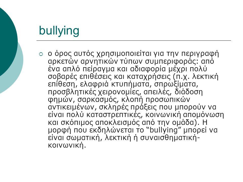bullying  ο όρος αυτός χρησιμοποιείται για την περιγραφή αρκετών αρνητικών τύπων συμπεριφοράς: από ένα απλό πείραγμα και αδιαφορία μέχρι πολύ σοβαρές