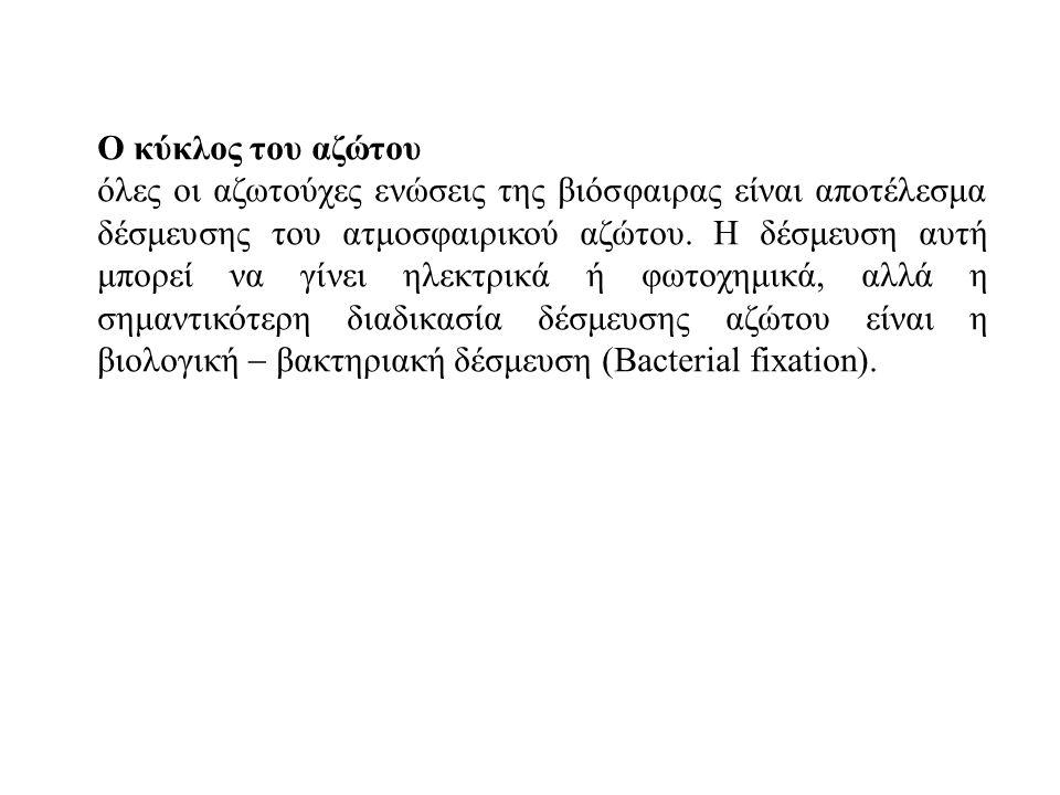 Οι βιοχημικές αλλαγές που συμβαίνουν στη συγκέντρωση του μοριακού αζώτου εμπλέκουν τις διαδικασίες της δέσμευσης του αζώτου (nitrogen fixation), της αφομοίωσης (nitrogen assimilation) και της αποδέσμευσης (denitrification ) Νιτροποίηση Αζωτούχα οργ.ουσία------ αμμωνία-----νιτρώδη-------νιτρικά α) Ο μικροοργανισμός Nitrosomonas μετατρέπει τα ιόντα αμμωνίου σε νιτρώδη ιόντα και β) ο μικροοργανισμός Nitrobacter μετατρέπει τα νιτρώδη σε νιτρικά ιόντα.