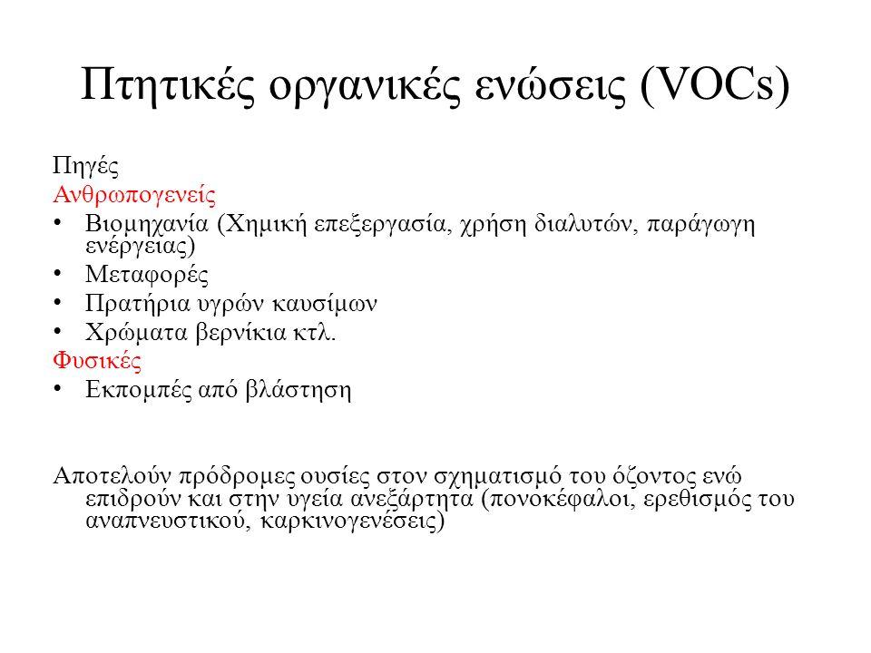 Πτητικές οργανικές ενώσεις (VOCs) Πηγές Ανθρωπογενείς Βιομηχανία (Χημική επεξεργασία, χρήση διαλυτών, παράγωγη ενέργειας) Μεταφορές Πρατήρια υγρών καυ
