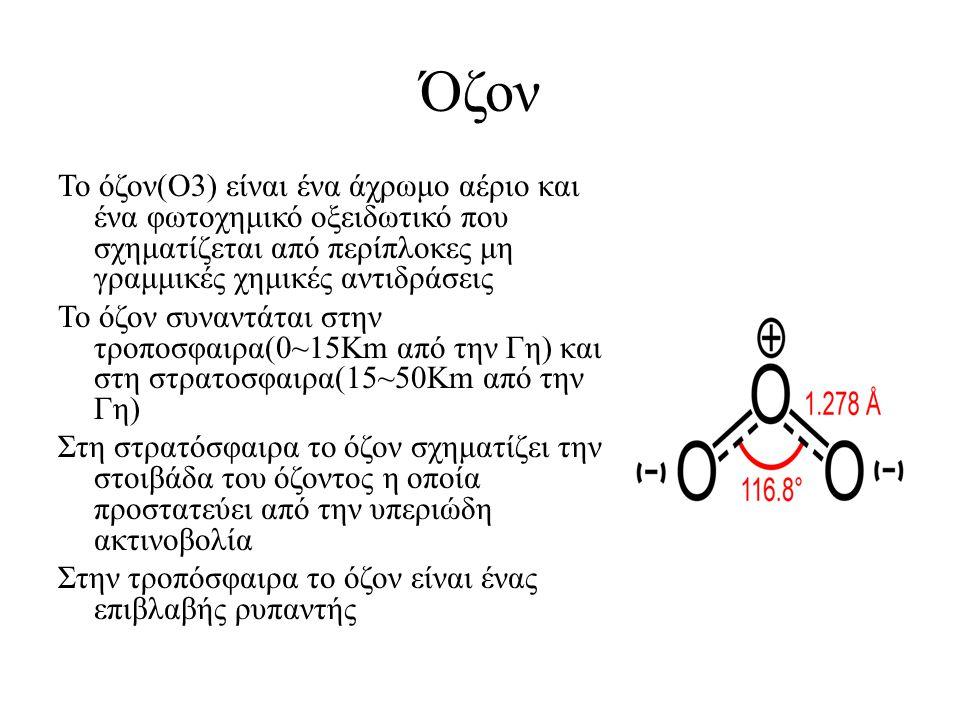 Όζον Το όζον(Ο3) είναι ένα άχρωμο αέριο και ένα φωτοχημικό οξειδωτικό που σχηματίζεται από περίπλοκες μη γραμμικές χημικές αντιδράσεις Το όζον συναντά