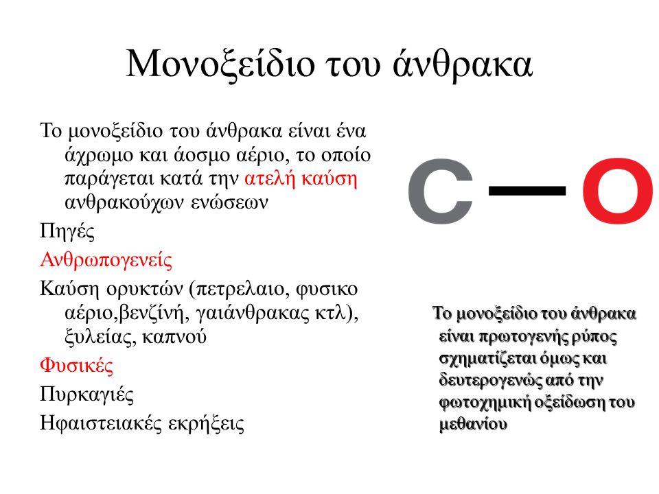 Μονοξείδιο του άνθρακα Το μονοξείδιο του άνθρακα είναι ένα άχρωμο και άοσμο αέριο, το οποίο παράγεται κατά την ατελή καύση ανθρακούχων ενώσεων Πηγές Α