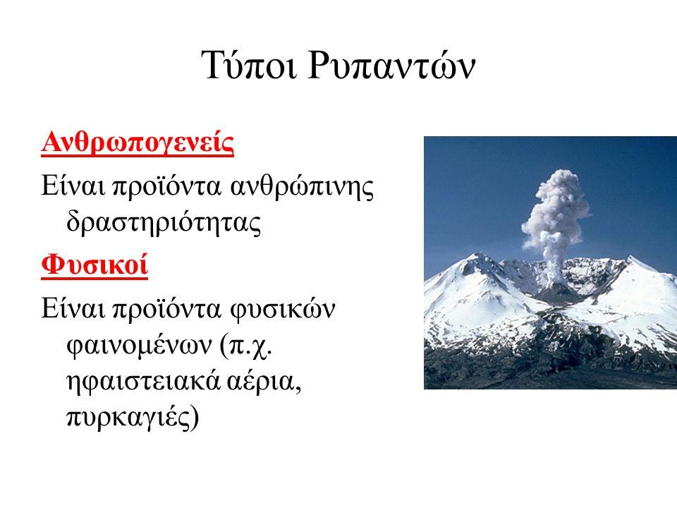 Τύποι Ρυπαντών Ανθρωπογενείς Είναι προϊόντα ανθρώπινης δραστηριότητας Φυσικοί Είναι προϊόντα φυσικών φαινομένων (π.χ. ηφαιστειακά αέρια, πυρκαγιές)