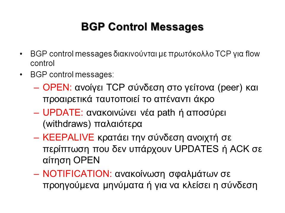 BGP Control Messages BGP control messages διακινούνται με πρωτόκολλο TCP για flow control BGP control messages: –OPEN: ανοίγει TCP σύνδεση στο γείτονα (peer) και προαιρετικά ταυτοποιεί το απέναντι άκρο –UPDATE: ανακοινώνει νέα path ή αποσύρει (withdraws) παλαιότερα –KEEPALIVE κρατάει την σύνδεση ανοιχτή σε περίπτωση που δεν υπάρχουν UPDATES ή ACK σε αίτηση OPEN –NOTIFICATION: ανακοίνωση σφαλμάτων σε προηγούμενα μηνύματα ή για να κλείσει η σύνδεση