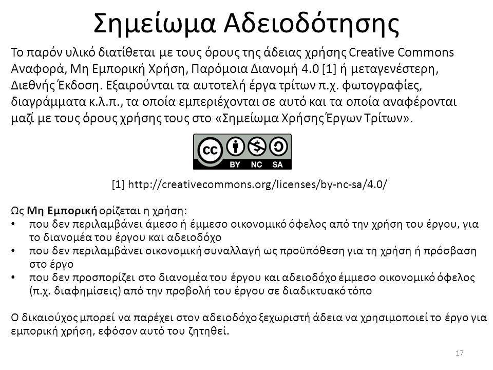 Σημείωμα Αδειοδότησης Το παρόν υλικό διατίθεται με τους όρους της άδειας χρήσης Creative Commons Αναφορά, Μη Εμπορική Χρήση, Παρόμοια Διανομή 4.0 [1]