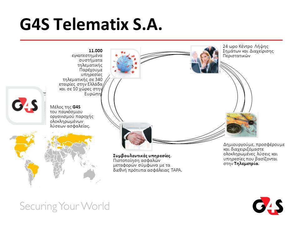 G4S Telematix S.A. Μέλος της G4S του παγκόσμιου οργανισμού παροχής ολοκληρωμένων λύσεων ασφαλείας. 11.000 εγκατεστημένα συστήματα τηλεματικής Παρέχουμ