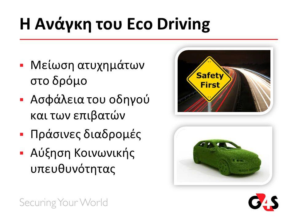 Η Ανάγκη του Eco Driving  Μείωση ατυχημάτων στο δρόμο  Ασφάλεια του οδηγού και των επιβατών  Πράσινες διαδρομές  Αύξηση Κοινωνικής υπευθυνότητας