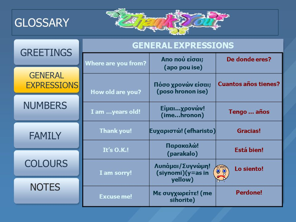 GLOSSARY GREETINGS GENERAL EXPRESSIONS NUMBERS FAMILY COLOURS NOTES GENERAL EXPRESSIONS Where are you from.