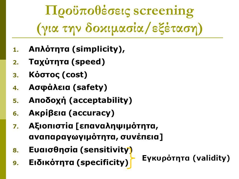 1. Απλότητα (simplicity), 2. Ταχύτητα (speed) 3. Κόστος (cost) 4. Ασφάλεια (safety) 5. Αποδοχή (acceptability) 6. Ακρίβεια (accuracy) 7. Αξιοπιστία [ε