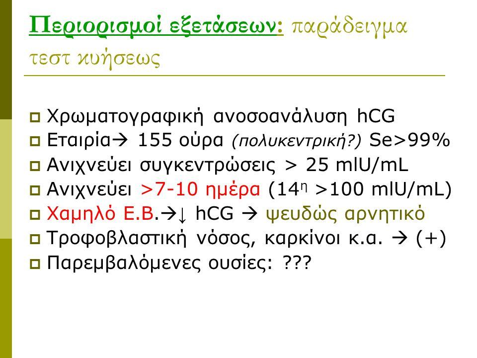Περιορισμοί εξετάσεων: παράδειγμα τεστ κυήσεως  Χρωματογραφική ανοσοανάλυση hCG  Εταιρία  155 ούρα (πολυκεντρική?) Se>99%  Ανιχνεύει συγκεντρώσεις