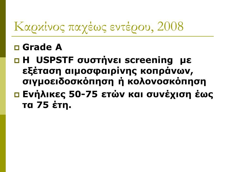 Kαρκίνος παχέως εντέρου, 2008  Grade A  H USPSTF συστήνει screening με εξέταση αιμοσφαιρίνης κοπράνων, σιγμοειδοσκόπηση ή κολονοσκόπηση  Eνήλικες 5