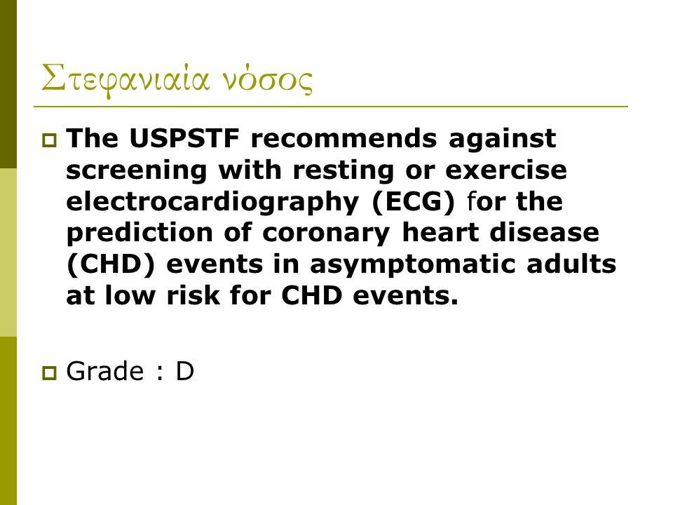 Στεφανιαία νόσος  The USPSTF recommends against screening with resting or exercise electrocardiography (ECG) for the prediction of coronary heart dis