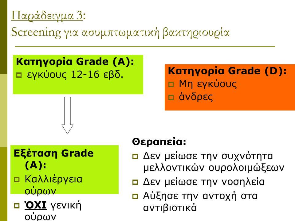 Παράδειγμα 3 : Screening για ασυμπτωματική βακτηριουρία Κατηγορία Grade (Α):  εγκύους 12-16 εβδ. Κατηγορία Grade (D):  Μη εγκύους  άνδρες Εξέταση G